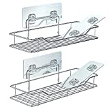 Bathroom Shelf, Packism Shower Caddy Bathroom Organizer with 4 Traceless Adhesive Kitchen storage Rack Shower organizer - No Drilling, Stainless Steel, 2 Pack