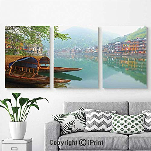 Modern Gallery Wrapped Canvas Print Old Chinese Suburbs Lake Canal with Wood Boats Foggy Asian Eastern Rural Scene 3 Panels Pictures on Canvas Wall Art Ready to Hang for Living Room Kitchen Home Deco - Export Old Chinese