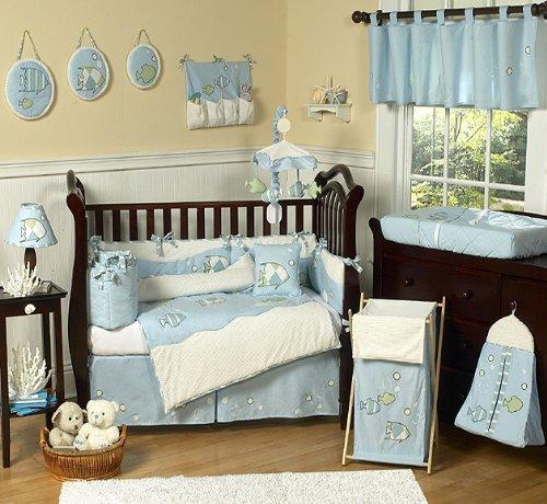 Go Fish Blue Ocean Under the Sea Baby Boy Bedding 9pc Crib Set by Sweet Jojo Designs