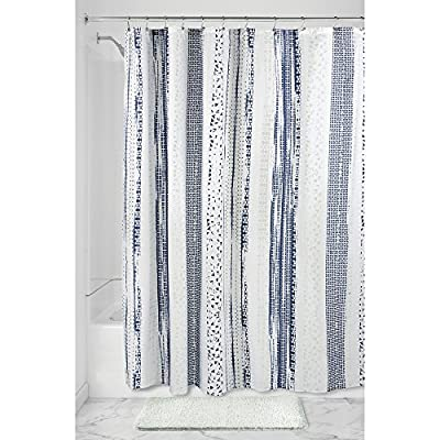 """iDesign Geometric Stripe Fabric Shower Curtain, Water-Repellent Bath Liner for Kids', Guest, College Dorm, Master Bathroom, 72"""" x 72"""", Navy and Slate Blue Striped - FABRIC SHOWER CURTAIN: Wrinkle-resistant 100% polyester fabric gives your bathtub a sleek look. Stylish striped blue design for a modern look. Great for master bathroom, guest bathroom, child's bathroom, or basement bathroom WATERPROOF: Fabric is coated to allow water to easily glide off and resist soaking REINFORCED BUTTON HOLES: 12 button holes with a weighted hem are suitable for S hooks, shower rings, and other shower curtain hooks for easy hanging - shower-curtains, bathroom-linens, bathroom - 51saFa8BoXL. SS400  -"""