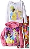 Disney Little Girls' Princess 3-Piece Hoodie, Multi, 6X