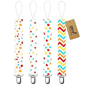 iZiv Baby Pacifier Clip Holder - 4 Pack - Unisex Pattern Design - Teething Ring Toys, Pacifier Leash, Stylish Shower Gift Set (Color-1)