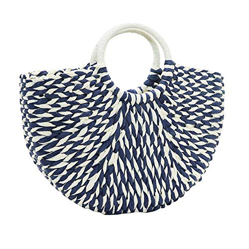 Womens Straw Handbag Double-Colored Summer Woven Beach Tote Bag Straw Top Handle Bag -