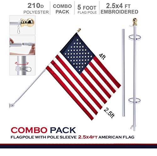 G128 - 5 Feet Tangle Free Spinning Aluminum Flagpole (White) American Flag Pole Sleeve Embroidered 2.5x4 ft American Flag Pole Sleeve (Flag Included) Flag Pole (Home Kit Flag)