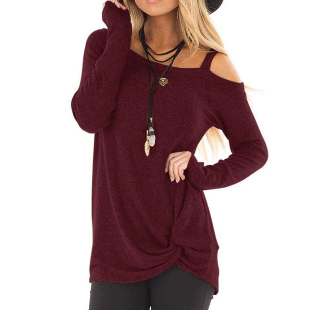 Londony♥‿♥ Women's Casual Knot Tied Long Sleeve One Shoulder Loose Tunic T Shirt Blouse Tops Londony007