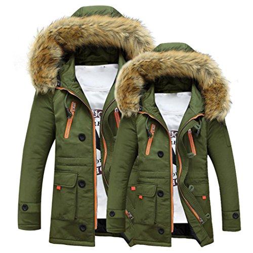 Manica Giacca 1 Invernale Con Caldo Da Beautytop Verde Top Cappotto Sottile Cappuccio Outwear Lunga Uomo Autunno Inverno pqXXA7