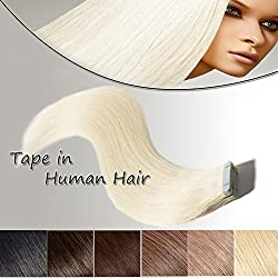 Platinum Blonde Tape in Hair Extension 100% Remy Human Hair 20 Inch Long Thick Straight Bonding Double Sided Tape Professional Seamless Skin Weft Hair 20pcs/50g + 10pcs Free Tapes (20'', 60)