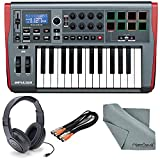 Novation Impulse 25 USB-MIDI Keyboard and Bundle with 2 MIDI to 2 MIDI (Dual) Cable + Samson Stereo Headphones + Fibertique Cleaning Cloth