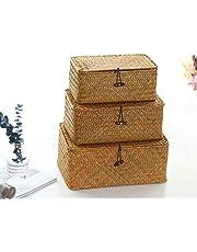 YSGLIFE Zestaw 3 prostokątnych koszów z plecionej trawy morskiej, z rattanu, z pokrywką, uniwersalne pudełka do przechowywania ubrań, kosmetyków, książek i regałów (naturalne, małe/średnie/duże)