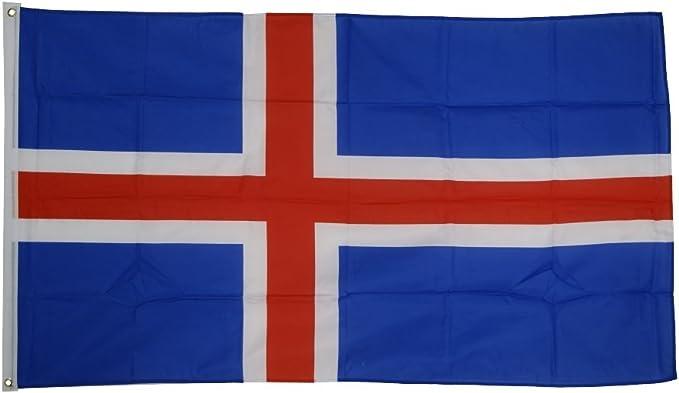 Flaggenfritze – Bandera de la bandera de Islandia, isländische Bandera Izar con ojales + Gratis Pegatina 150 x 250 cm: Amazon.es: Deportes y aire libre