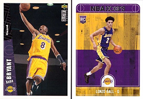 97 Rookie Card (Los Angeles Lakers Kobe and Lonzo Rookie Card Lot of 2 - 1996-97 Upper Deck Collector's Choice Kobe Bryant Rookie Card and 2017-18 Panini NBA Hoops Lonzo Ball Rookie Card)