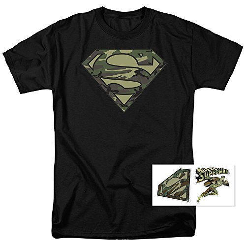 Popfunk Camo Superman Logo S Shield Black T Shirt (Large) ()