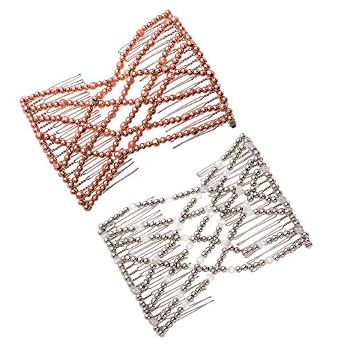 Casualfashion 2 Pcs Magic Beading Easy Stretching Hair Combs Double Clips Hair Styling Accessories for Women Girls Hair Beauty (Beaded Hair Net)