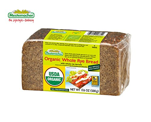 Mestemacher Organic Whole Rye Bread 17.6 Oz (Pack of 6)