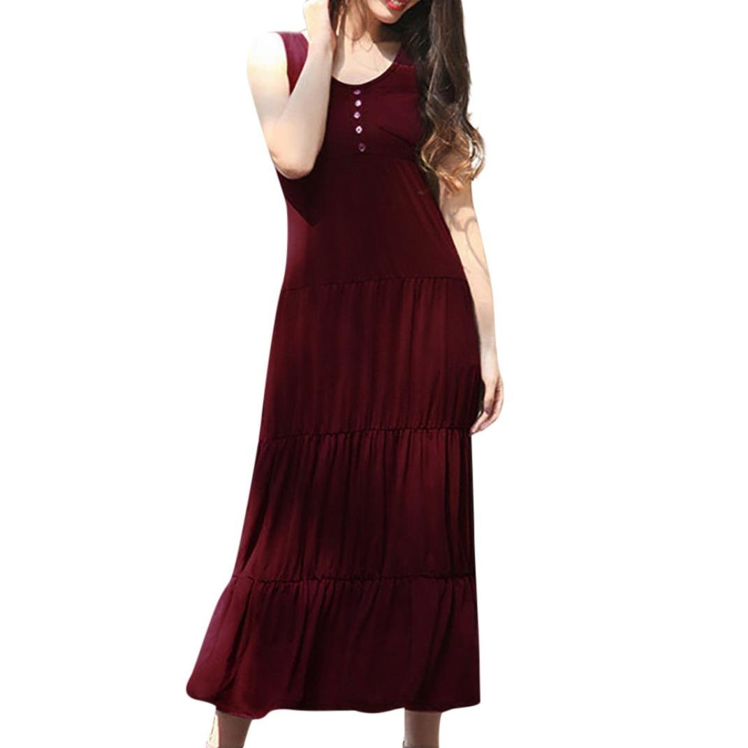 HTHJSCO Women's Sleeveless Racerback Loose Plain Maxi Dresses Casual Long Dresses (Red, XXL) by HTHJSCO