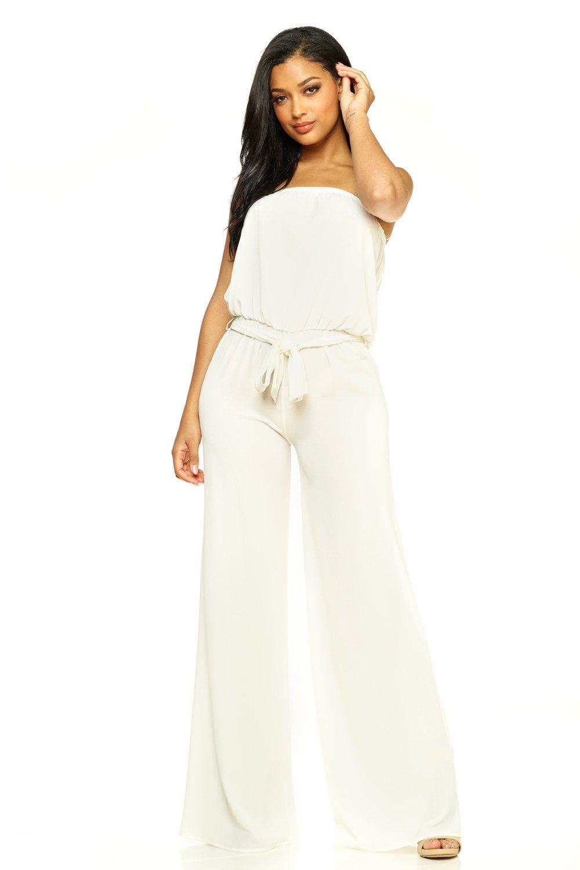 Cemi Ceri Women's J2 Love Strapeless Tube Jumpsuit, Large, White by Cemi Ceri (Image #1)