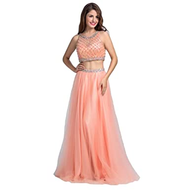 Lemai Womens Peach Pink Tulle Two Pieces Sheer Beaded Long Formal Prom Evening Dresses ...