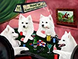 Home of Amecian Eskimo 4 Dogs Playing Poker Art Portrait Print Woven Throw Sherpa Plush Fleece Blanket (37x57 Sherpa)