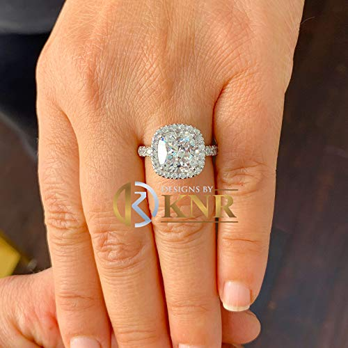 Huge Cushion And Round Cut Sterling Silver .925 Round Cut Simulated Diamond Engagement Ring Halo, Bridal, Wedding, Halo, Anniversary, 5.50ct ()