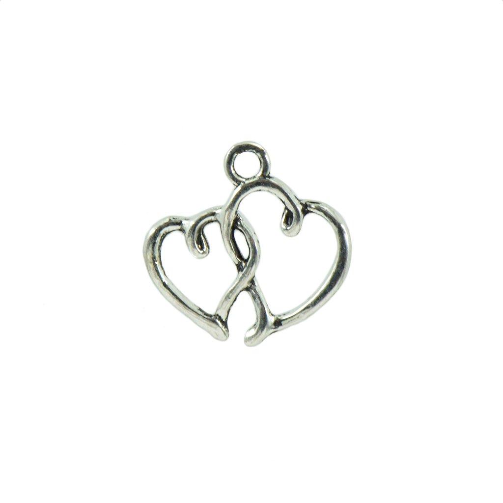 50 Stk DIY Zwei Herz Stil Handwerk Legierung Anhänger Charms Silber