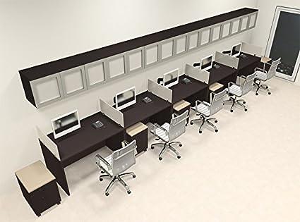 Amazon com : Five Person Modern Divider Office Workstation