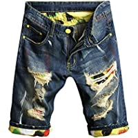 mrwonder pantalones cortos de Casual Denim Ripped Mid Cintura Distressed Jeans Shorts agujero Cut-Off Azul Oscuro