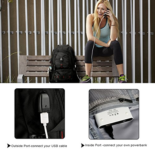 Fashion Laptop Backpack Contains Multi-Function Pockets, Tocode Durable Travel Backpack with USB Charging Port Stylish Anti-Theft School Bag Fits 17.3 Inch Laptop Comfort Pack for Women & Men–Black I by Tocode (Image #2)