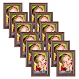 4x6 picture frames - Icona Bay 4 by 6 Picture Frames (4x6, 12 Pack, Teakwood Finish) Wood Photo Frames, Wall Mount Hangers and Table Top Easel, Landscape as 6x4 Picture Frames or Portrait as 4x6, Lakeland Collection