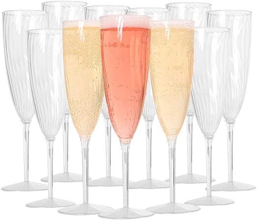 4 Unique Industries Silver Glitter Champagne Flutes