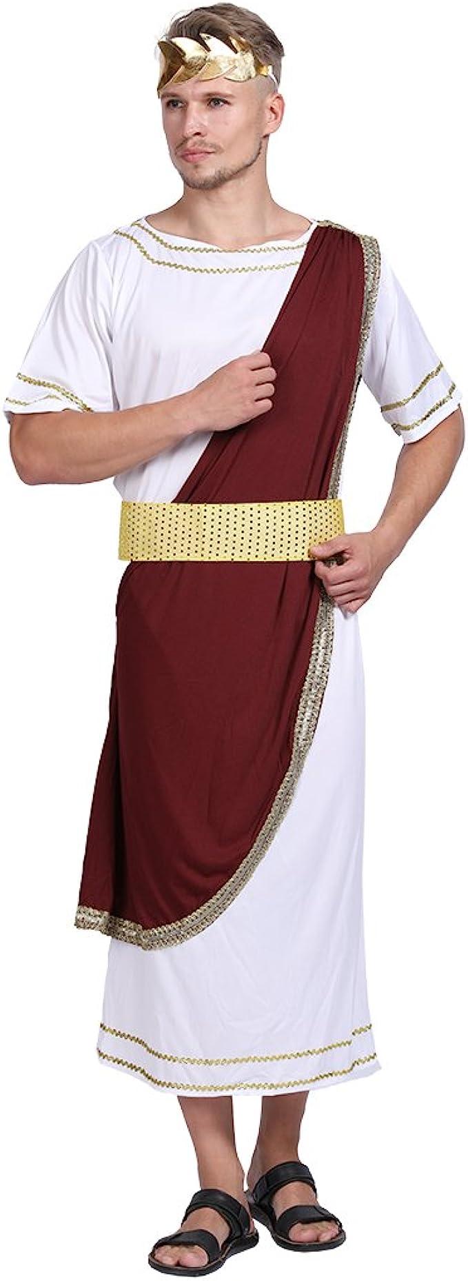Da Uomo Greco Greco Giulio Cesare dio romano Toga Costume Bianco Outfit