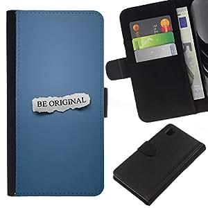 // PHONE CASE GIFT // Moda Estuche Funda de Cuero Billetera Tarjeta de crédito dinero bolsa Cubierta de proteccion Caso Sony Xperia Z1 L39 / BE ORIGINAL /