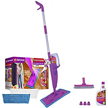 Rejuvenate Click N Clean Multi-Surface Spray Mop System Bundle Includes Free Click-On Grout Brush Two Reusable Microfiber Pads one 32oz No-Bucket Floor Cleaner ...