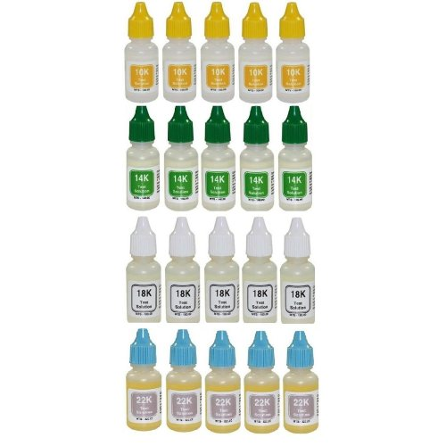 PuriTEST Wholesale 40-pack- Ten (10) Bottles EACH of 10k 14k 18k 22k Gold Testing Acid- Scratch Test for Jewelry, Coins, Ingots, Bullion, Antiques, and More ()