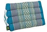Kapok Dreams Triangle Pillow 13''x8'', Triangular Cushion (medium size), 100% Kapok-Stuffing, Blue Tones.