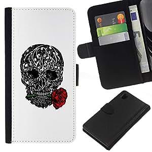 All Phone Most Case / Oferta Especial Cáscara Funda de cuero Monedero Cubierta de proteccion Caso / Wallet Case for Sony Xperia Z1 L39 // Love Rose Ink Tattoo Black White Metal