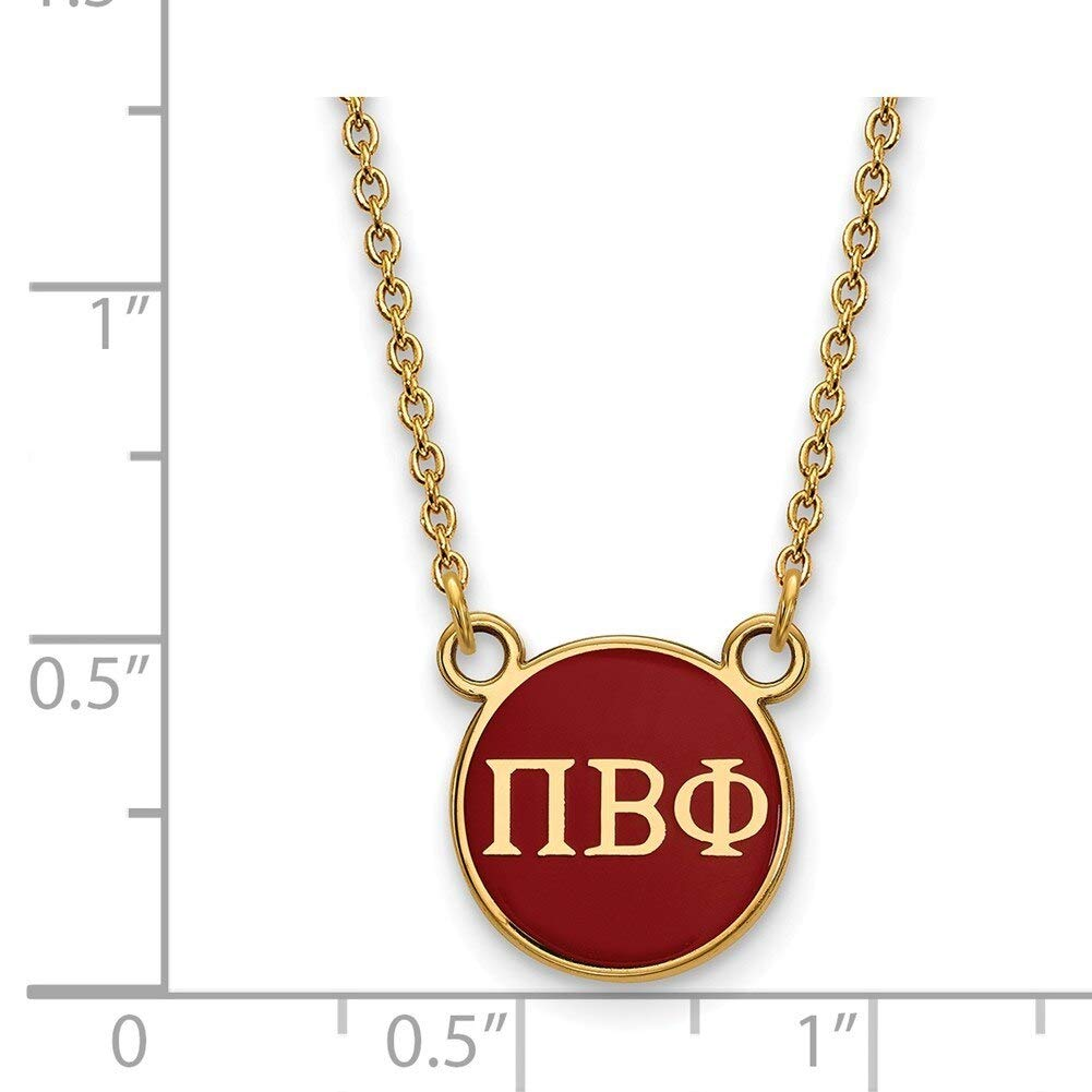 Lex /& Lu LogoArt Gold Plated Sterling Silver Pi Beta Phi Sm Enamel Pend w//Necklace LAL158426