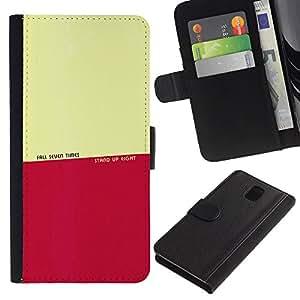 KingStore / Leather Etui en cuir / Samsung Galaxy Note 3 III / Fall Stand Up Tiempos motivación de la cita