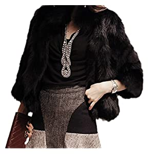 16dffb0af2 GESELLIE Women s Elegant Short Faux Fur Coat Winter Warm Fur Jacket  Overcoat Outerwear