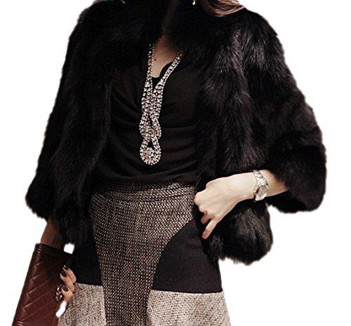 (Women's Elegant Short Faux Fur Coat Winter Warm Fur Jacket Overcoat Outerwear (US 2-4/Tag M, Black))
