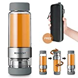 Tea Infuser Bottle Tumbler Travel Mug ROMAUNT Twist Valve System Design Control Tea Concentration 14oz / 390 Ml Double Wall Tritan Bpa Free Body Compatible With Coffee Bag Grey Color