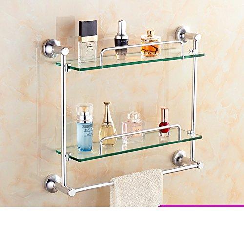 70%OFF Bathroom racks/Glass space aluminium towel rail/Toilet wall hanging racks-H
