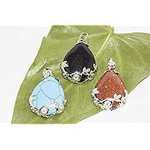 BRCbeads Beautiful Wire Wrap Teardrop Dangle Bead Pendant Variation Colors for Jewelery Making