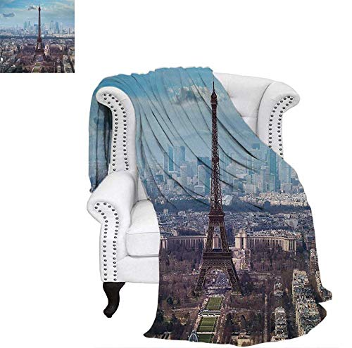 (Lightweight Blanket Aerial View of Eiffel Tower Clear Day Boulevard Busy Town Park Skyscrape Custom Design Cozy Flannel Blanket 60