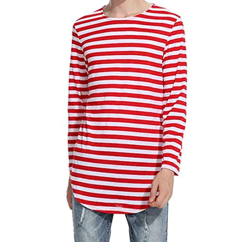 Coohole Men's Autumn Winter Tops Shirt Striped Long Sleeve Casual T-Shirt Casual Stripes Blouse (Red, L)