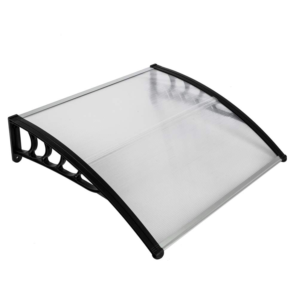 Goujxcy Window Door Awning,39 x 39 Window Awning Overhead Door Polycarbonate Cover Front Door Outdoor Patio Canopy Sun Shetter,UV,Rain Snow Protection Hollow Sheet