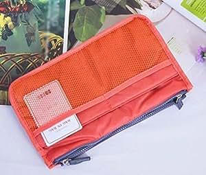 Portable Multiple Pockets Zipper Makeup Storage Bag Cosmetics Handbag Organizer Bag - Orange