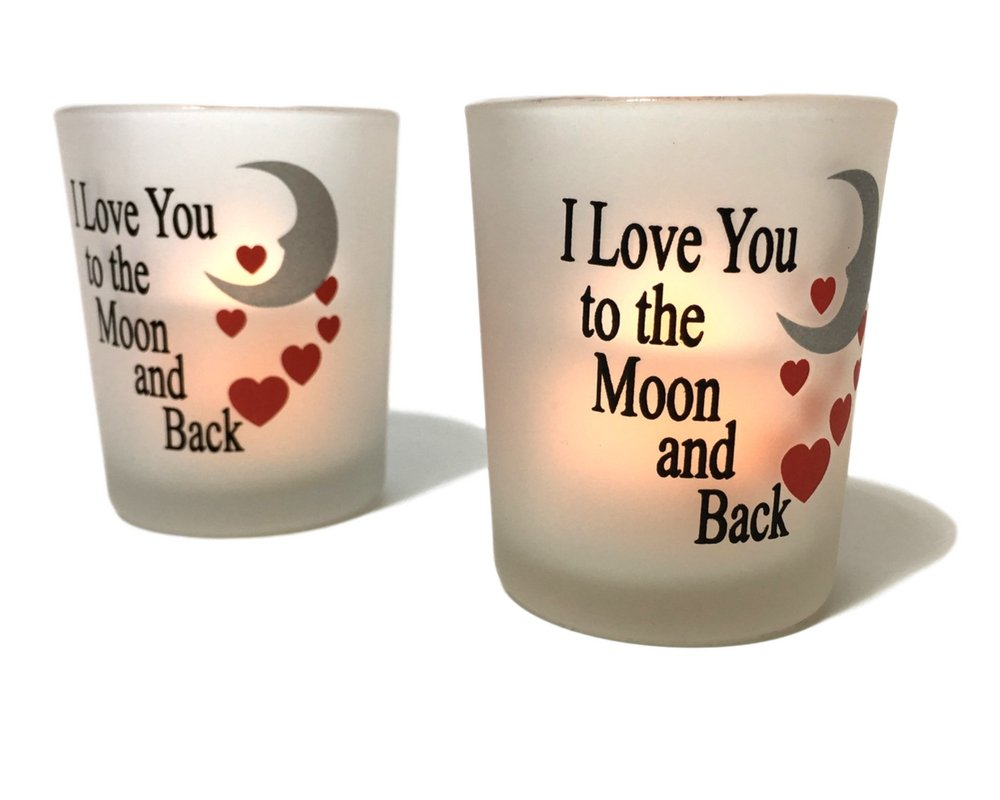 I Love You to the Moon & Back Frosted Glass Votive Holders - Red Hearts & Silver Moon - Set of 3 Assorted - Three Flameless Flickering LED Candles Included by Banberry Designs (Image #5)