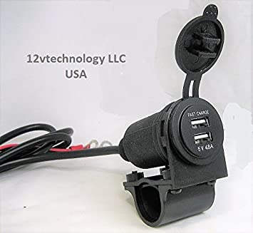 """SAE to USB Charger Adapter Fast Charge 4.8 Amps Motorcycle Handlebar 3//4/"""" 7//8 1/"""""""