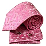 H5004 Pink Paisley Valentines Presents For Mens Silk Neck Cufflinks Hanky Set 3PT By Y&G