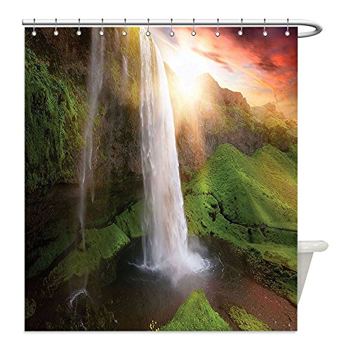 Liguo88 Custom Waterproof Bathroom Shower Curtain Polyester Natural Waterfall Decor Image of Waterfalls at Fairy Sunset Sky in Iceland Scenic Spring Rural Wildlife Art Decor Multi Decorative - Sunset Galleria The At